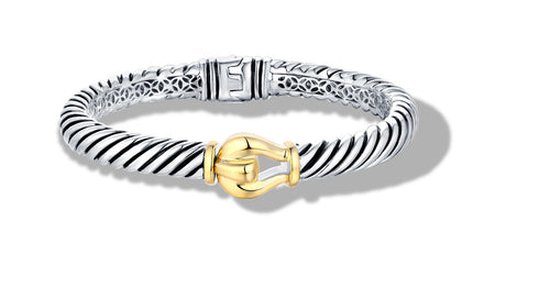 CLASSIC CABLE BUCKLE BRACELET IN SILVER & GOLD