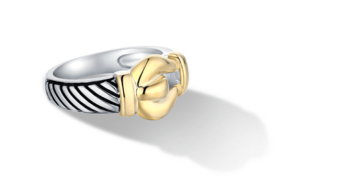 CLASSIC CABLE BUCKLE RING IN SILVER & GOLD - Gir Collection