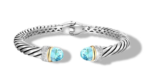 CROSS OVER BRACELET BLUE TOPAZ - Gir Collection