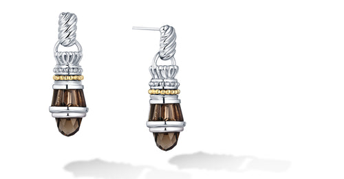 Maya Earrings with Smokey Topaz in Silver and 14K Gold