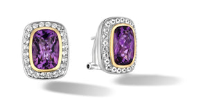 Raina Earrings with Amethyst in Silver & 14K Gold
