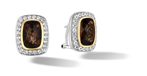 Raina Earrings with Smokey Topaz in Silver & 14K Gold