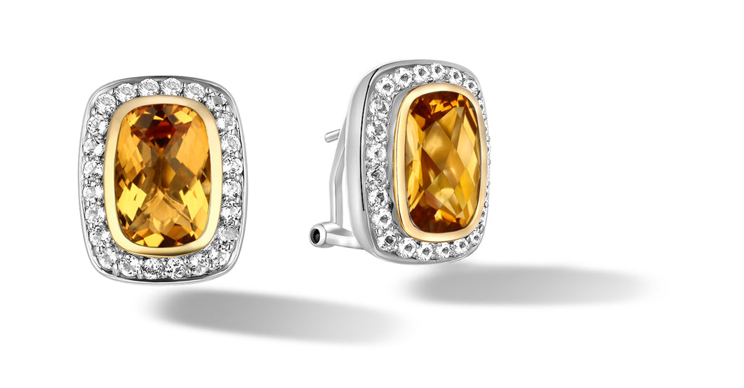 Raina Earrings with Citrine in Silver and 14K Gold