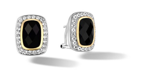 Raina Earrings with Black Onyx in Silver & 14K Gold