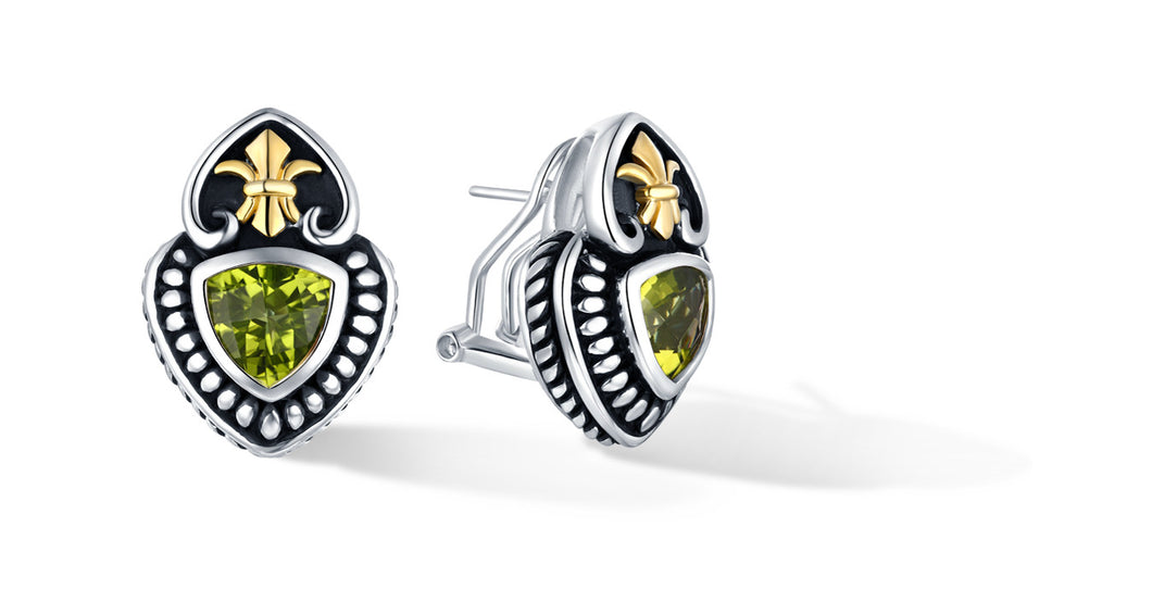 FLEUR DE LIS EARRINGS PERIDOT - Gir Collection