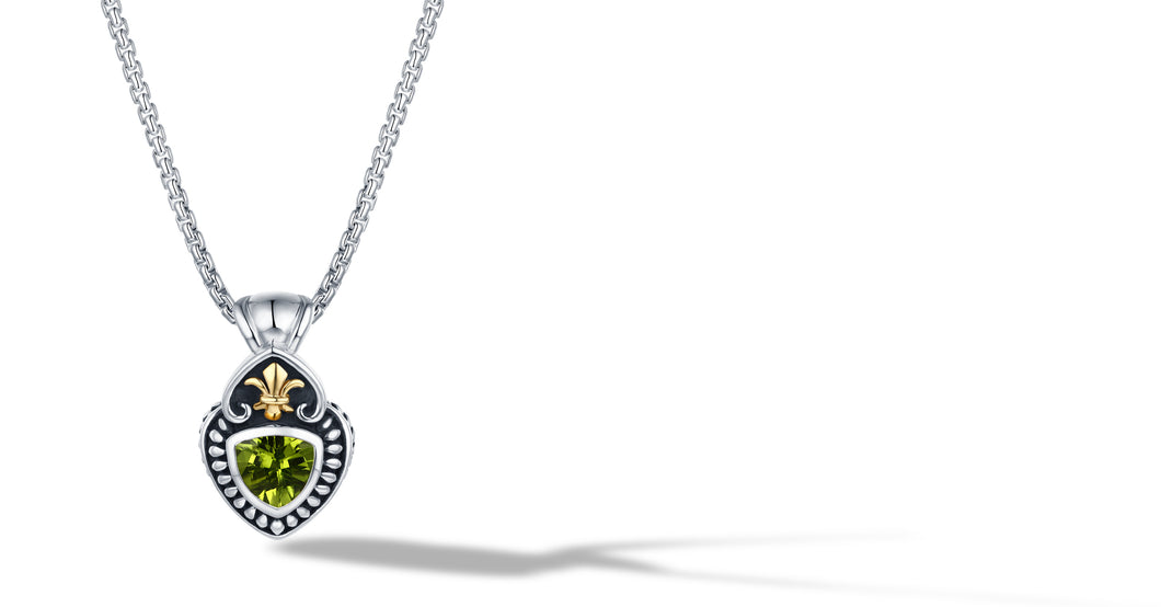 CLASSIC CABLE NECKLACE WITH PERIDOT IN SILVER AND GOLD