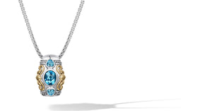 Janki Necklace with Blue Topaz in Silver and 14K Gold