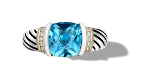 CLASSIC CABLE RING IN BLUE TOPAZ / DIAMONDS  IN SILVER & GOLD
