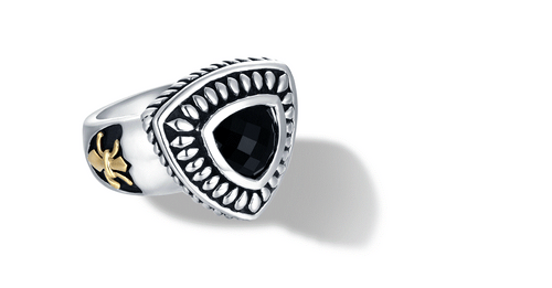 FLEUR DE LIS RING ONYX - Gir Collection