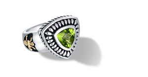 CLASSIC CABLE RING WITH PERIDOT IN SILVER & GOLD