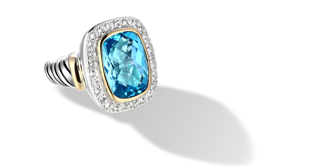 RING IN SILVER & GOLD WITH BLUE TOPAZ