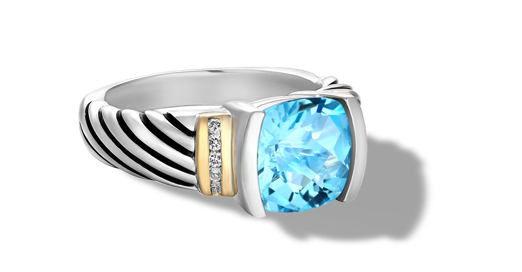 classic CABLE RING WITH BLUE TOPAZ / DIAMONDS IN SILVER & GOLD- Gir Collection