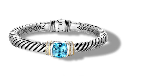 CLASSIC CABLE BRACELET BLUE TOPAZ -DIAMONDS IN SILVER & GOLD