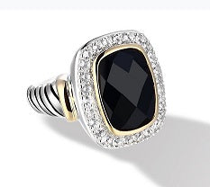 Raina Ring with Black Onyx in Silver and 14K Gold