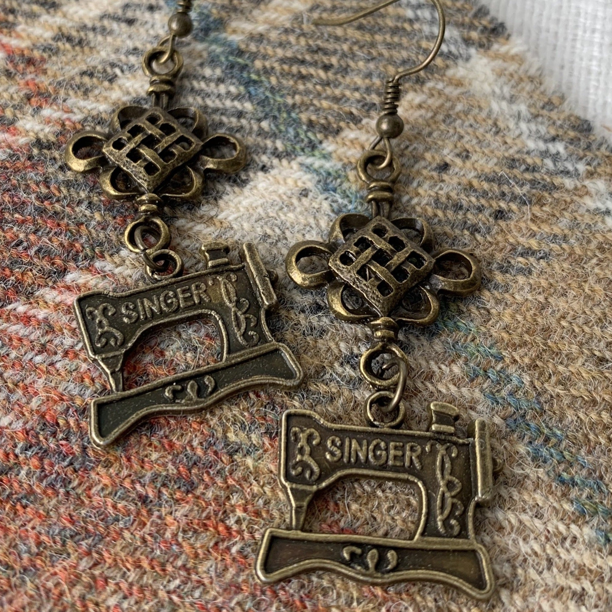Sewing machine earrings (long)