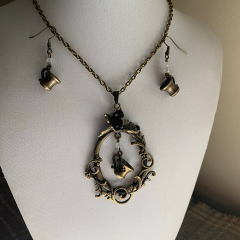 Steampunk 'One lump or two?' necklace & earrings set