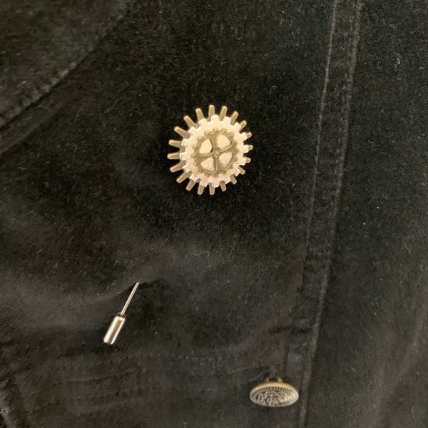 Steampunk metal cog lapel pins