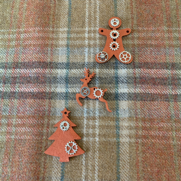 Copper painted shaped wooden steampunk Christmas ornaments