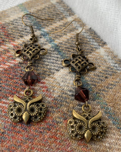 Long owl earrings with bead