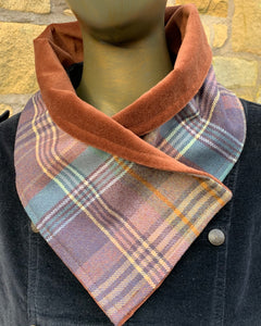Autumn colours lambswool tartan scarf lined with rust velvet