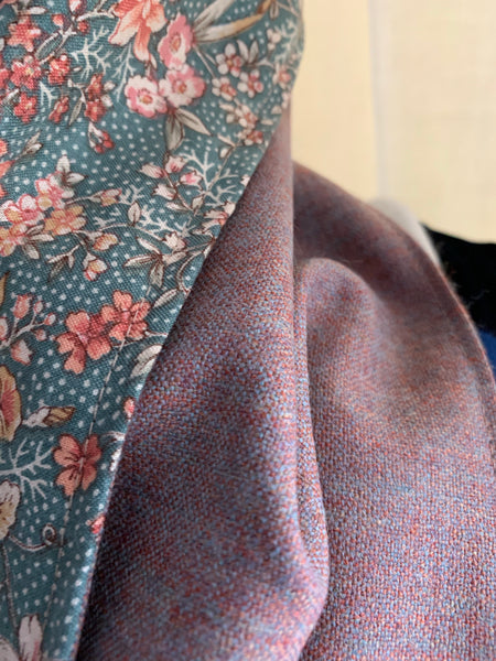 Very fine wool scarf (dusky peach) lined with green floral cotton