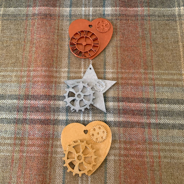 Hand painted steampunk wooden hearts and stars ornaments