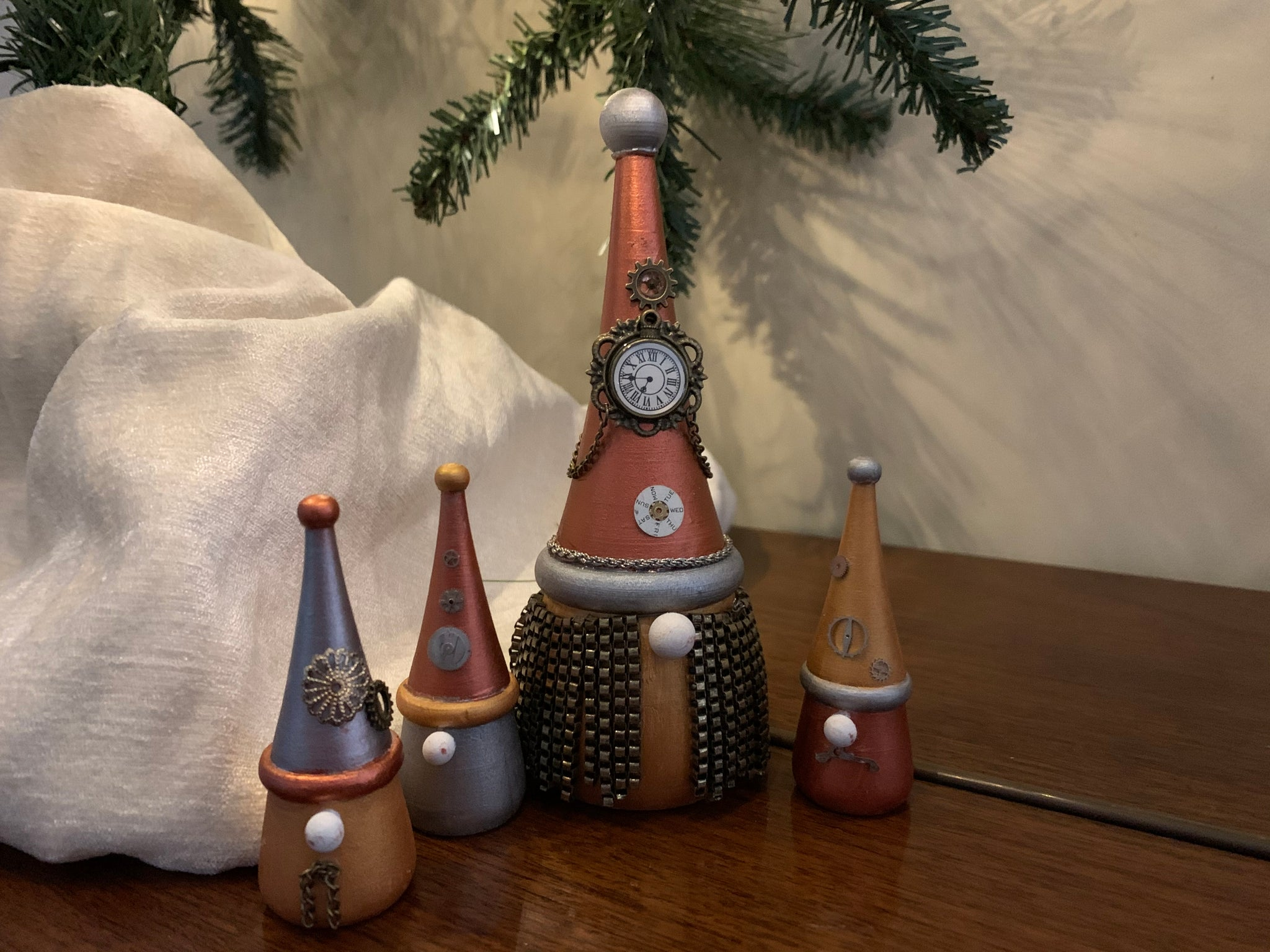 Wooden steampunk Christmas gnomes