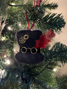 Needle felted steampunk top hat christmas ornament