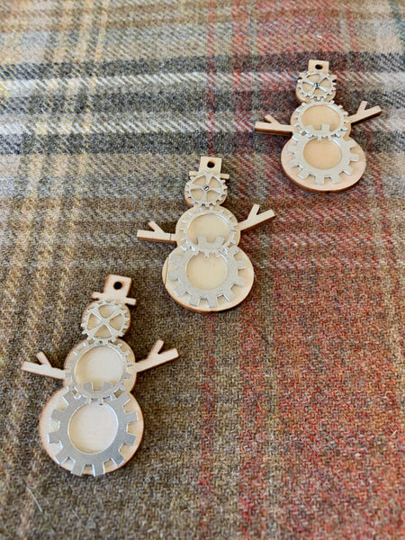 Wooden steampunk Christmas ornaments