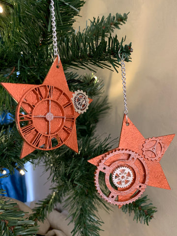 Copper painted star shaped wooden steampunk Christmas decorations
