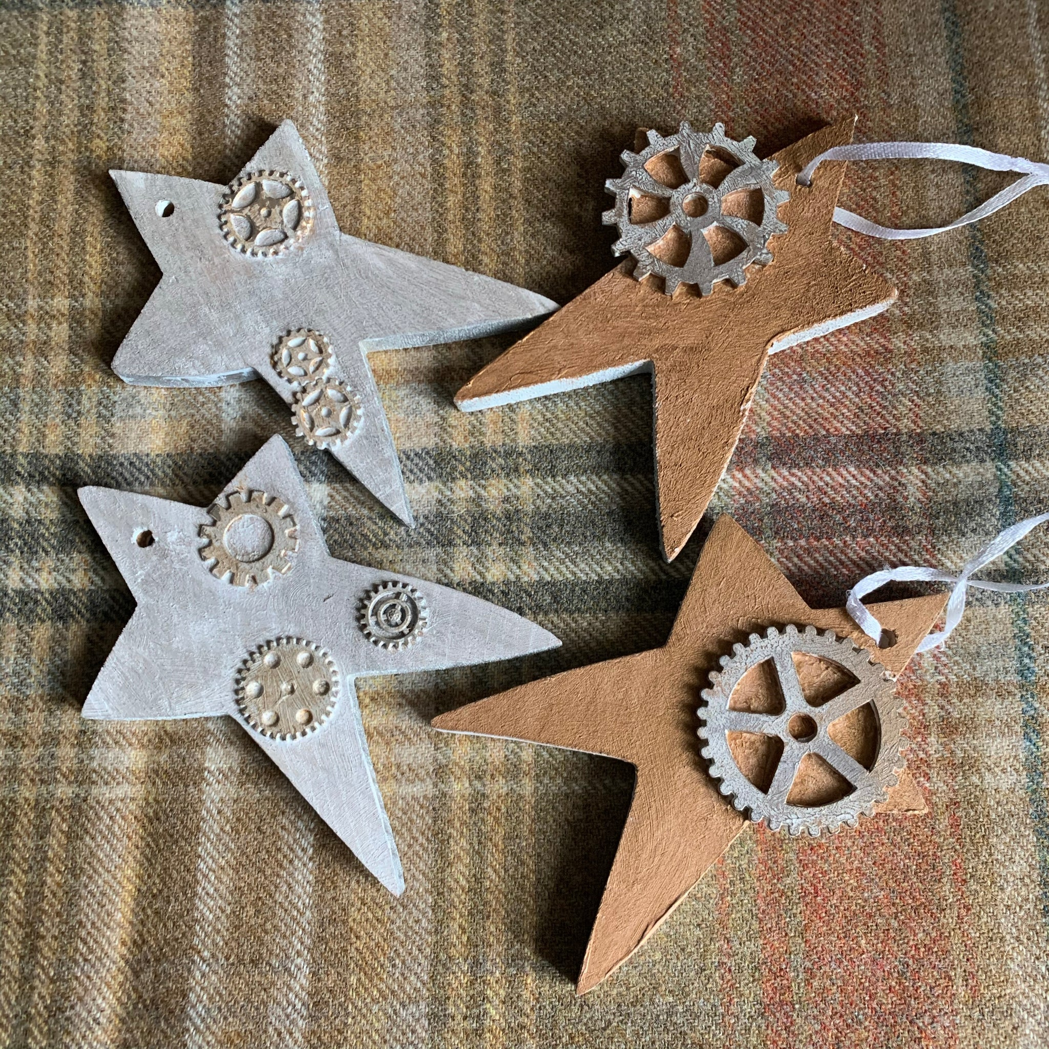 Chunky wooden stars Christmas ornaments