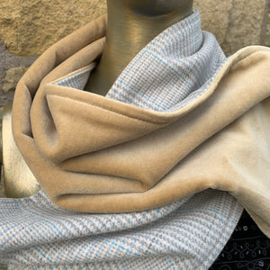 Pale blue/grey wool tartan scarf lined with cream velvet