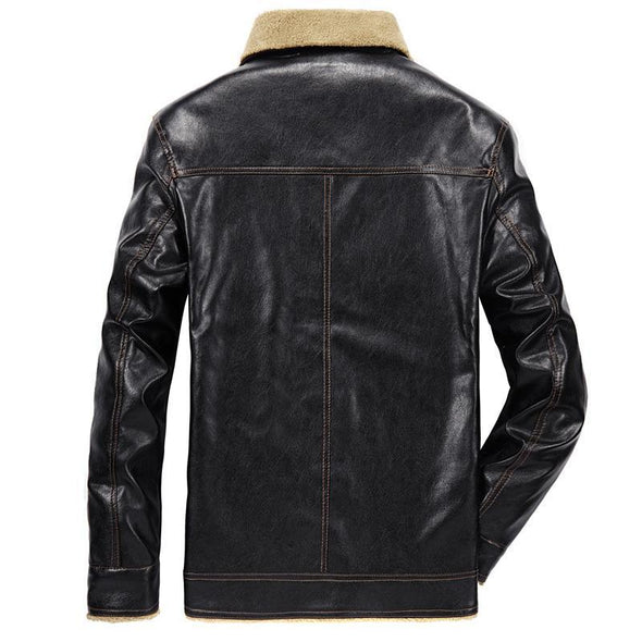 Marcus Leather Wide-Collared Winter Jacket