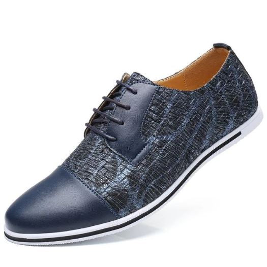 Marcus Leather Plaid Based Oxford Casual Shoes