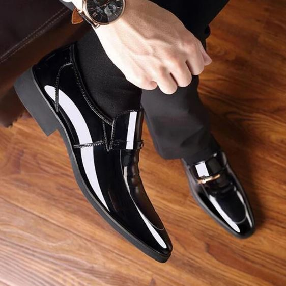 Marcus Leather Notched Vamp Dress Shoes
