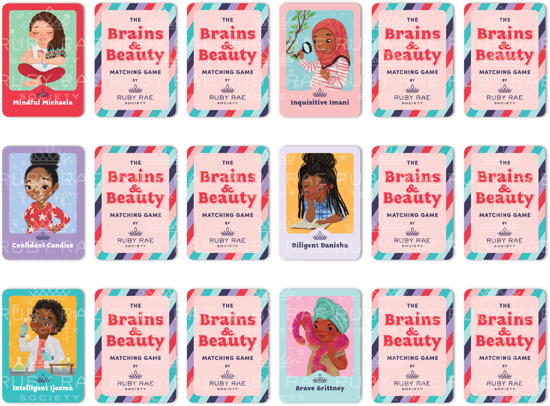 Brains & Beauty Matching Card Game