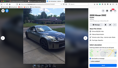 fun first car Nissan 350Z for sale on Facebook