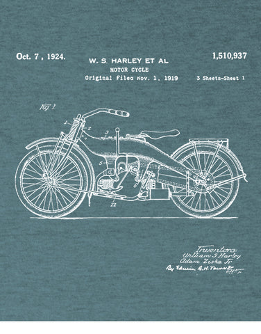 1924 patent vintage motorcycle shirt gifts for car lovers