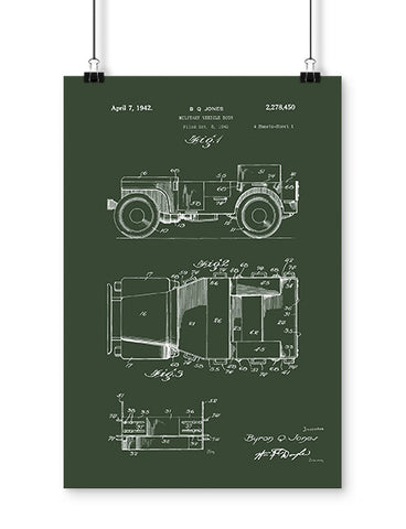 1942 4x4 military patent poster