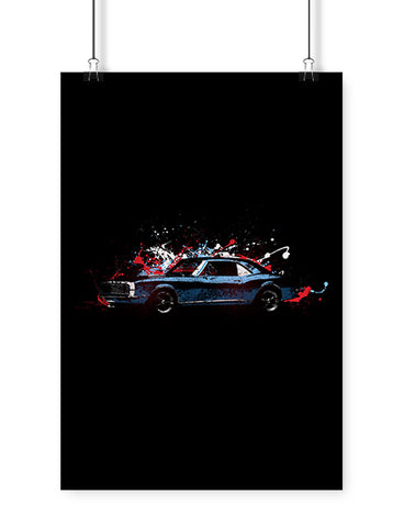 1968 blue ss 396 car art poster