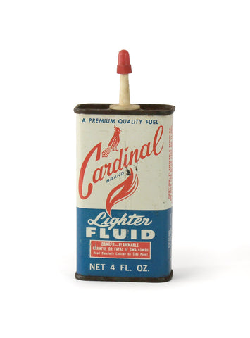 vintage oil cans cardinal lighter fluid front