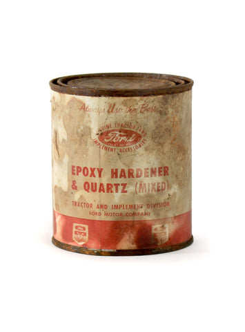 Vintage oil cans ford epoxy hardener and quartz
