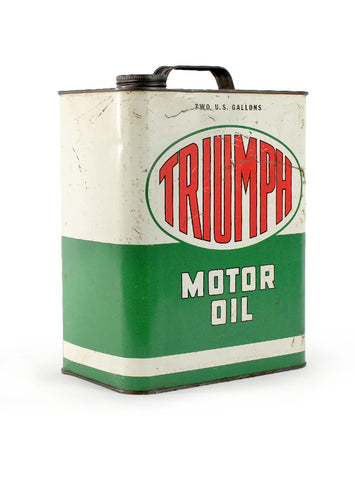 Vintage oil cans triumph motor oil two gallons side 2
