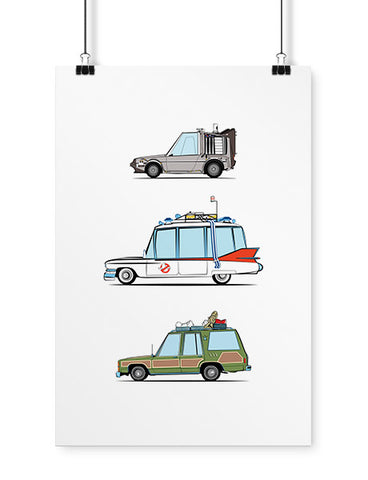 car art 80s movie cars cartoon poster