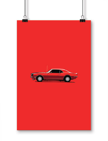 car posters 1968 ss396 muscle car hockey stick stripe