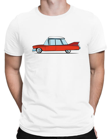 cartoon 1959 caddy car shirts hoodies mens red on white