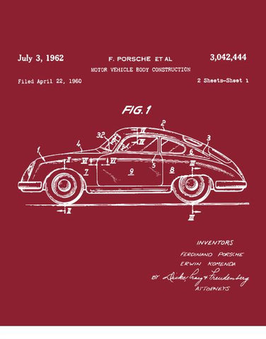 classic car shirts 1962 356 patent drawing t shirt flat