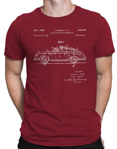 classic car shirts 1962 356 patent drawing t shirt mens cardinal