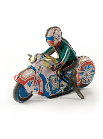 collectible toys 1950s wind up motorcycle racer japanese tin litho toy side