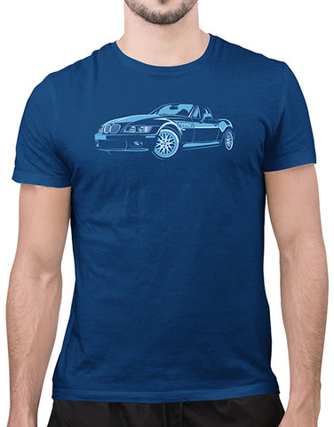 convertible bimmer german mens car shirt cool blue